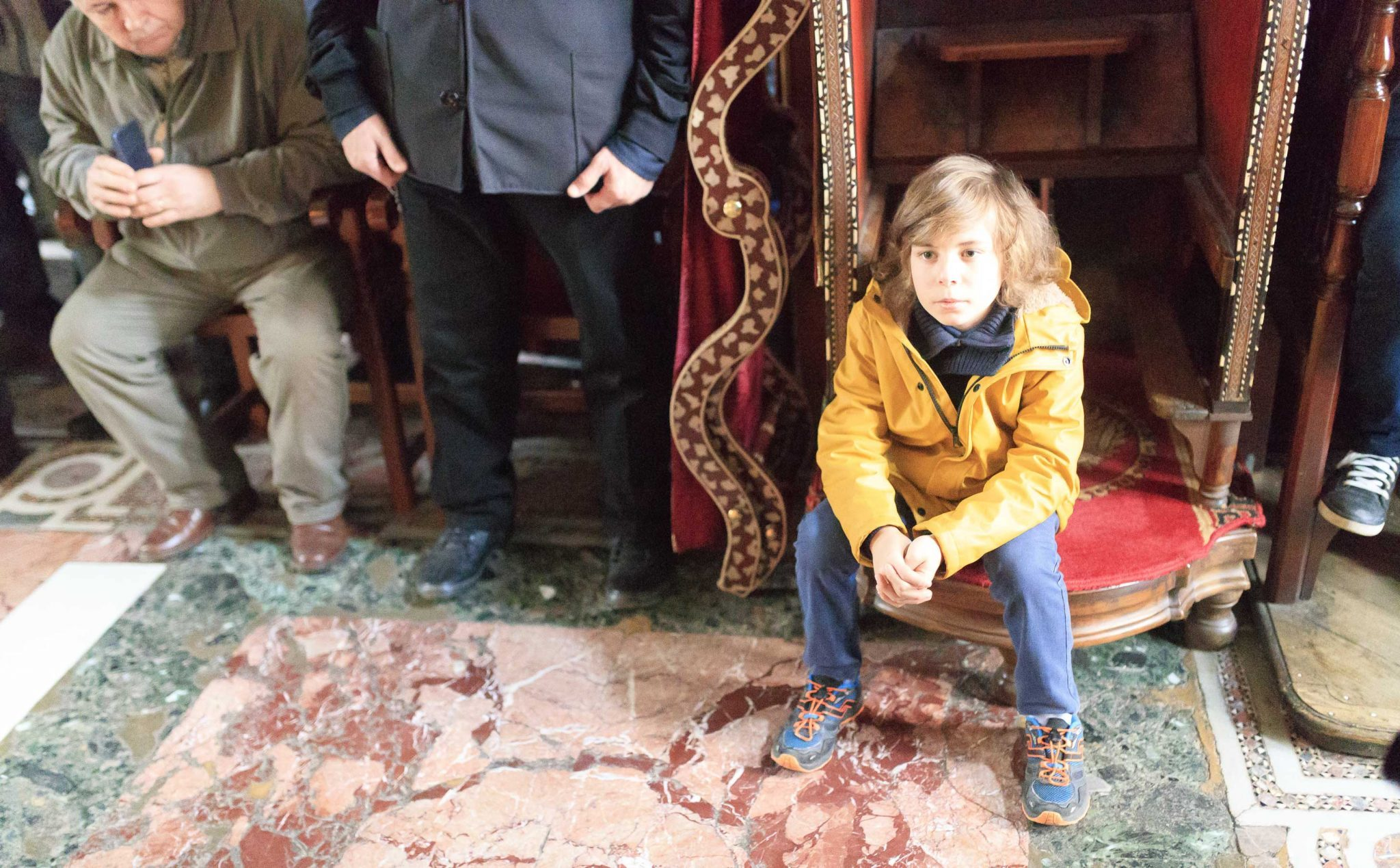 Children on Archbishop Throne - Ascetic Experience - Vatopedi, Vatopaidi Monastery Holy Mountain (Athos)