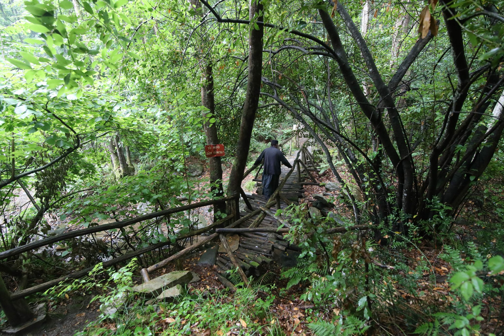 footpath to Paisios of Mount Athos' cell: crossing the bridge