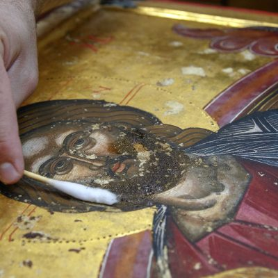 Why God became man? - Photo journal with the restoration of an icon